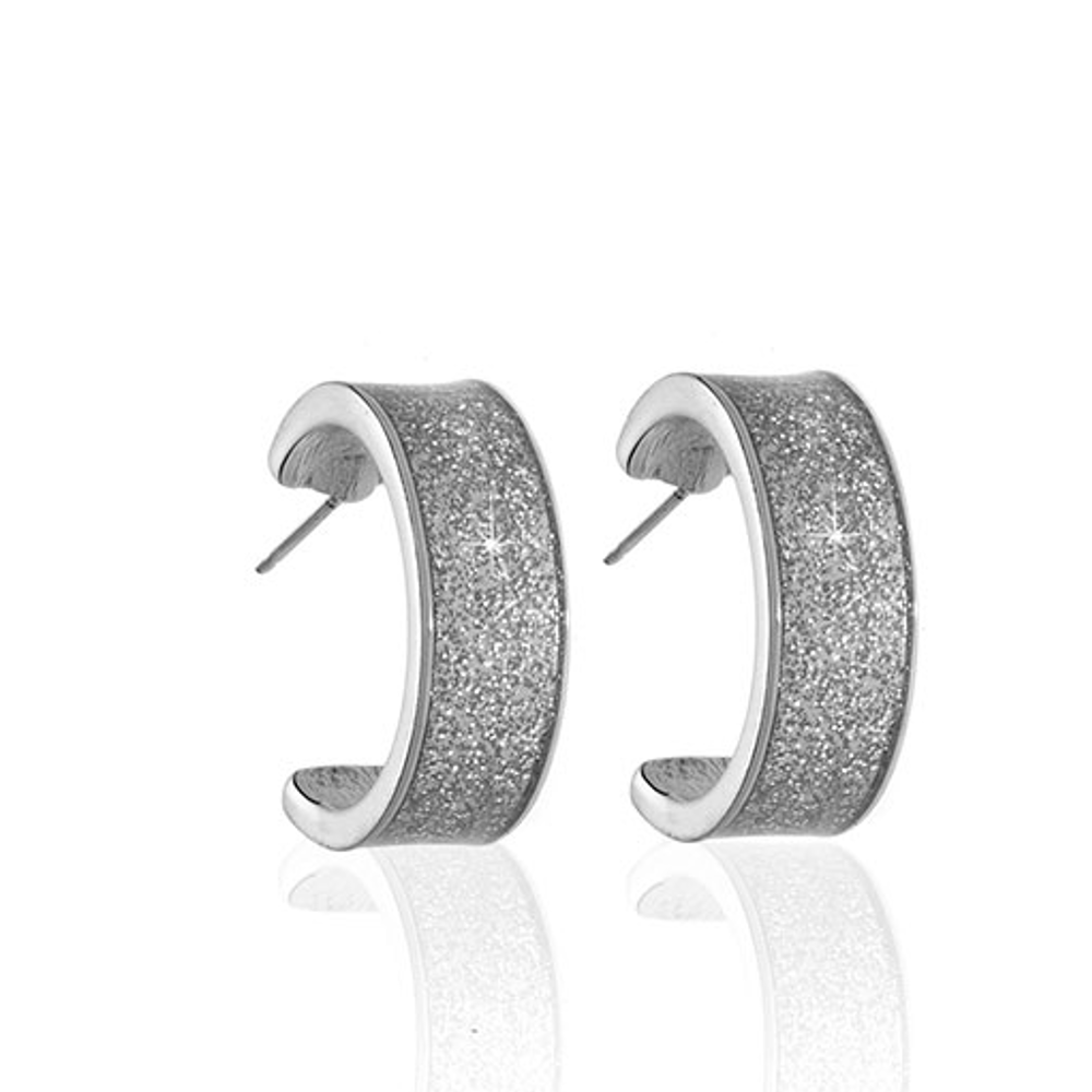 Stardust Silvertone Hoop Earrings