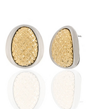Sharkskin Two-Tone Gold & Silver Earrings