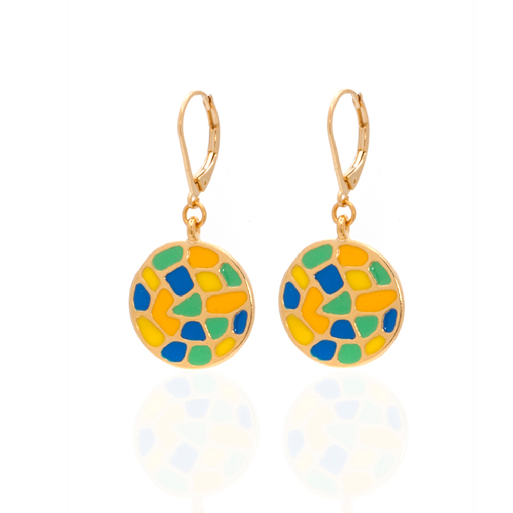 Multi Color Blue Yellow Round Earrings