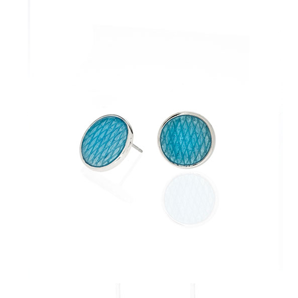 Celestial Blue Snakeskin Button Earrings