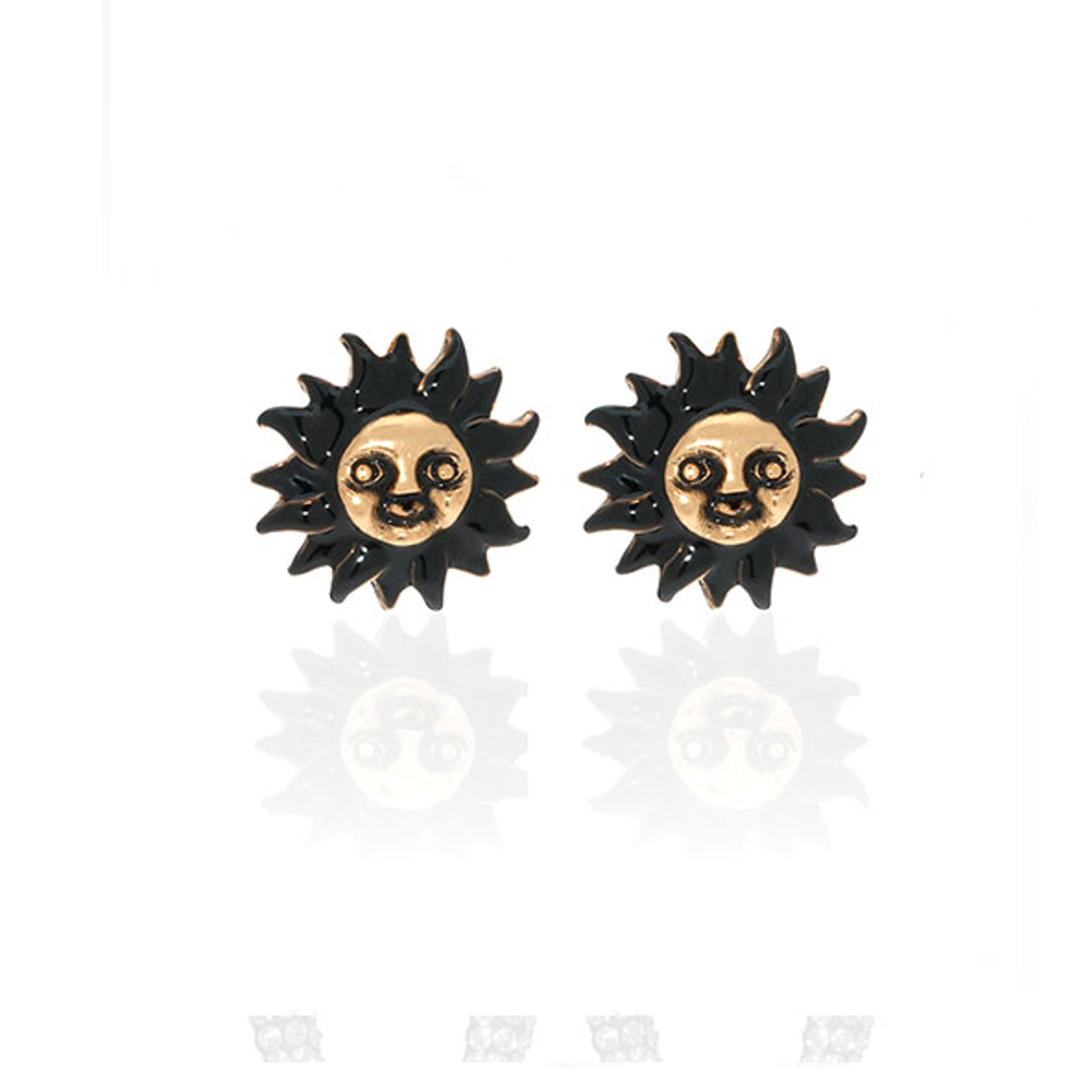 Black Sun Face Earrings