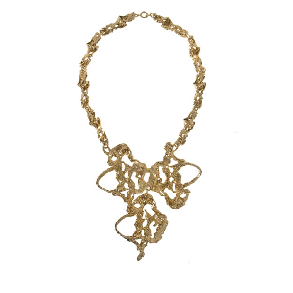 Molten Gold Tone Abstract Necklace