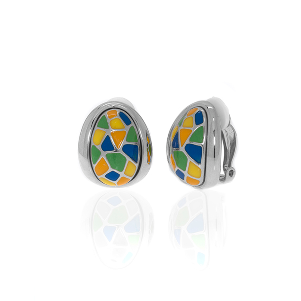 Silvertone Multi Color Yellow Blue Earrings