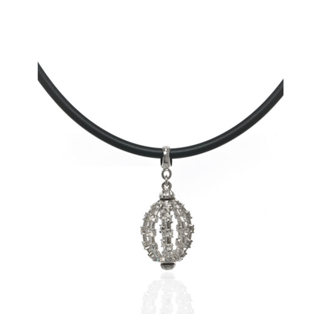 Grand Central Chandelier Silvertone Leather Cord Necklace