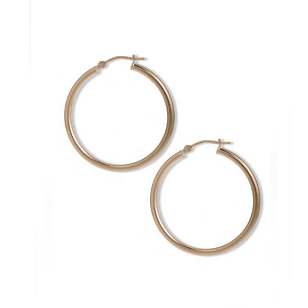 Gold Tone Slim Hoop Earrings