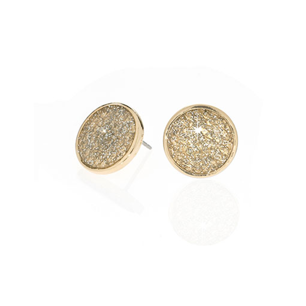 Stardust Gold Snakeskin Button Earrings