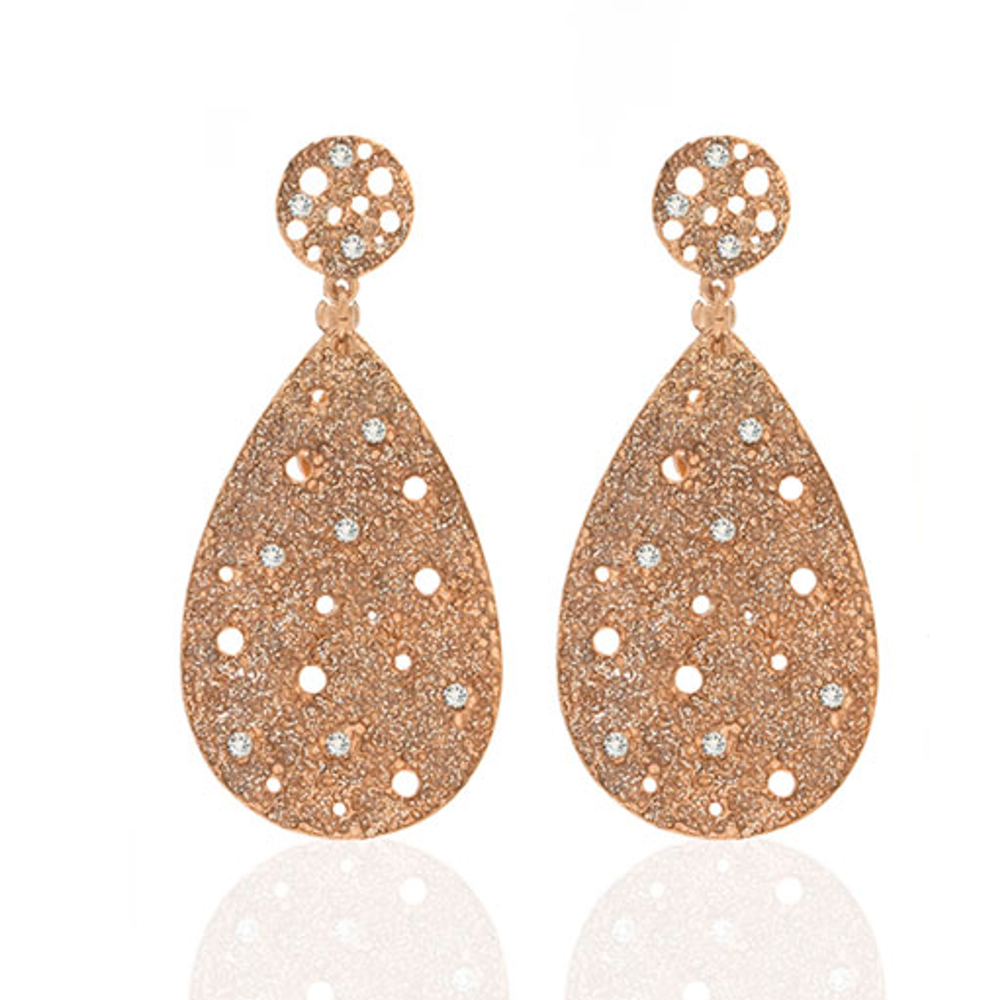Stardust Radiance RoseTone Tear Drop Earrings