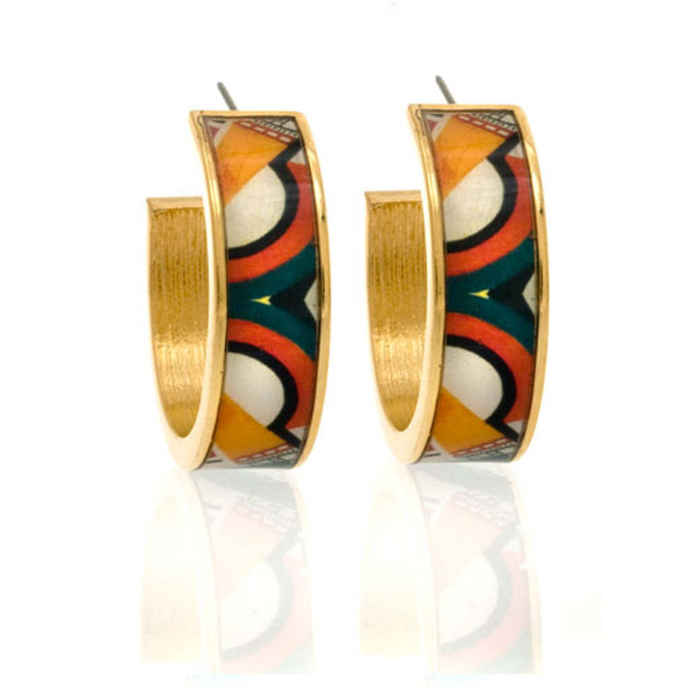 MAYA™ Geometric Orange Cone Hoop Earrings