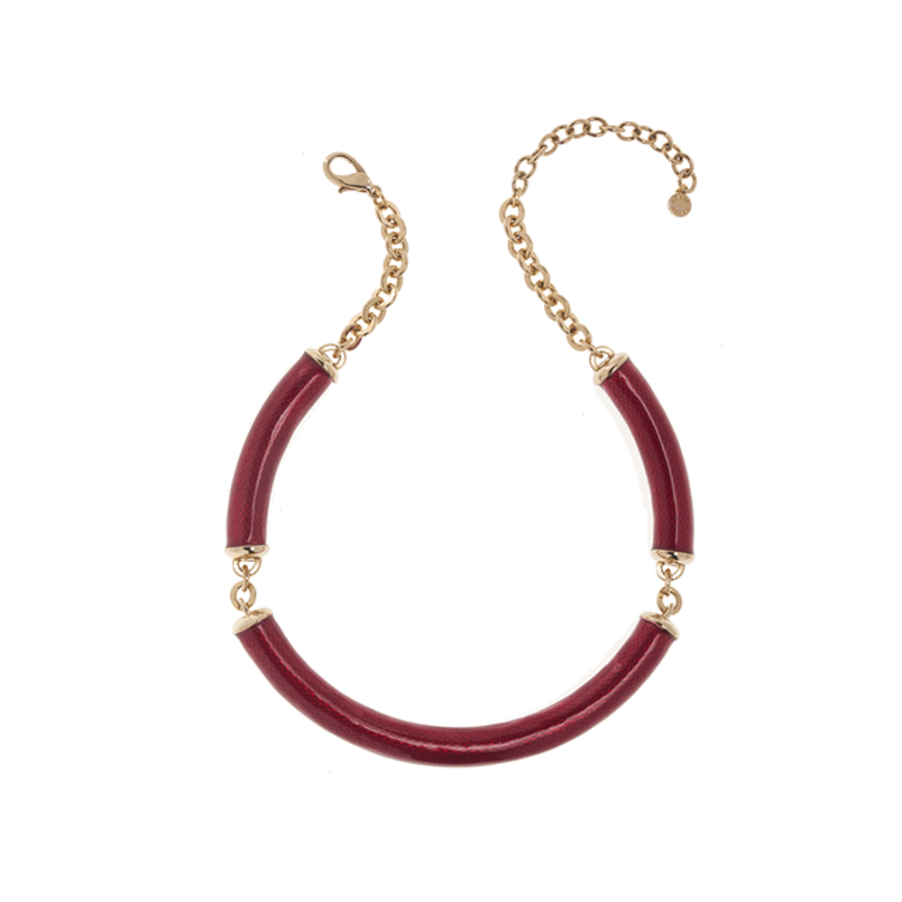 Gold Tone & Red Snakeskin Necklace