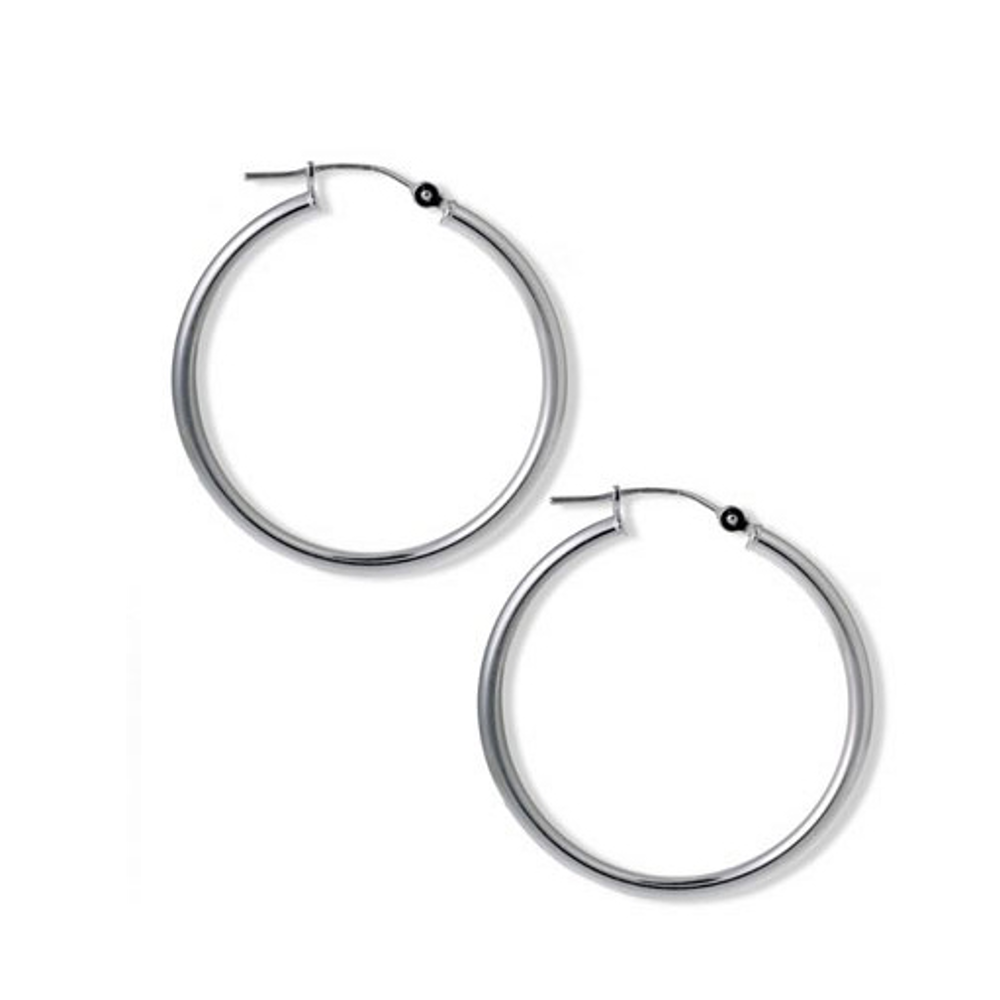 Silver Tone Slim Hoop Earrings