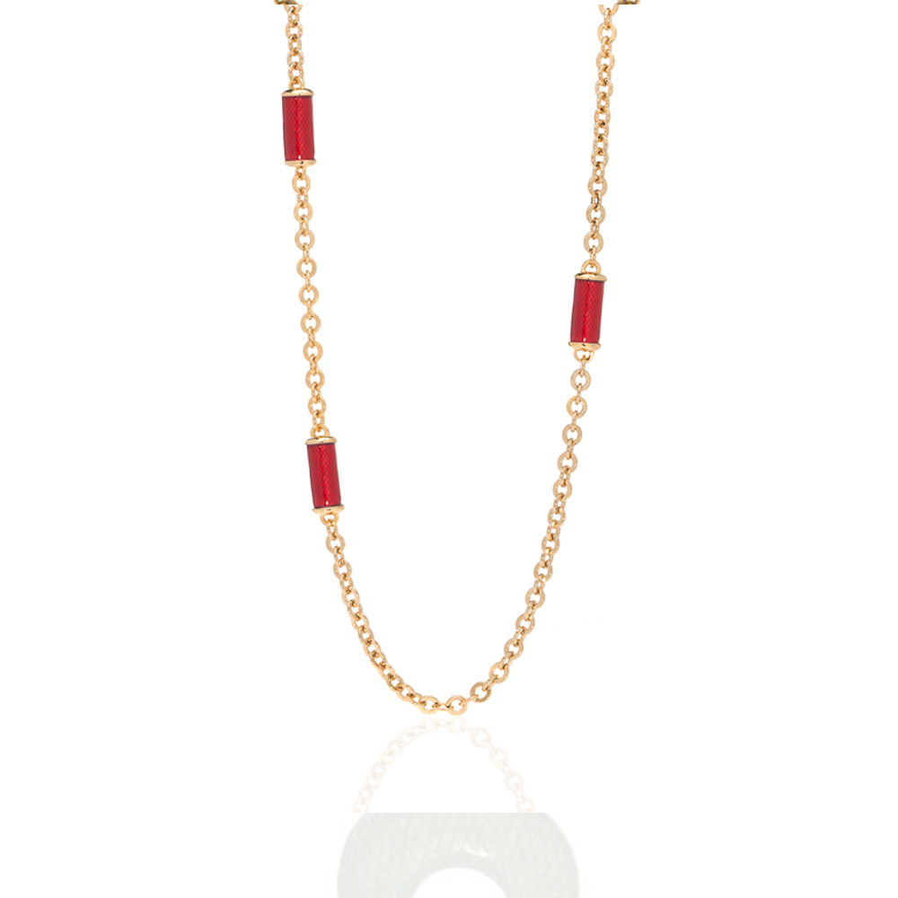 Snakeskin Red Goldtone Station Necklace
