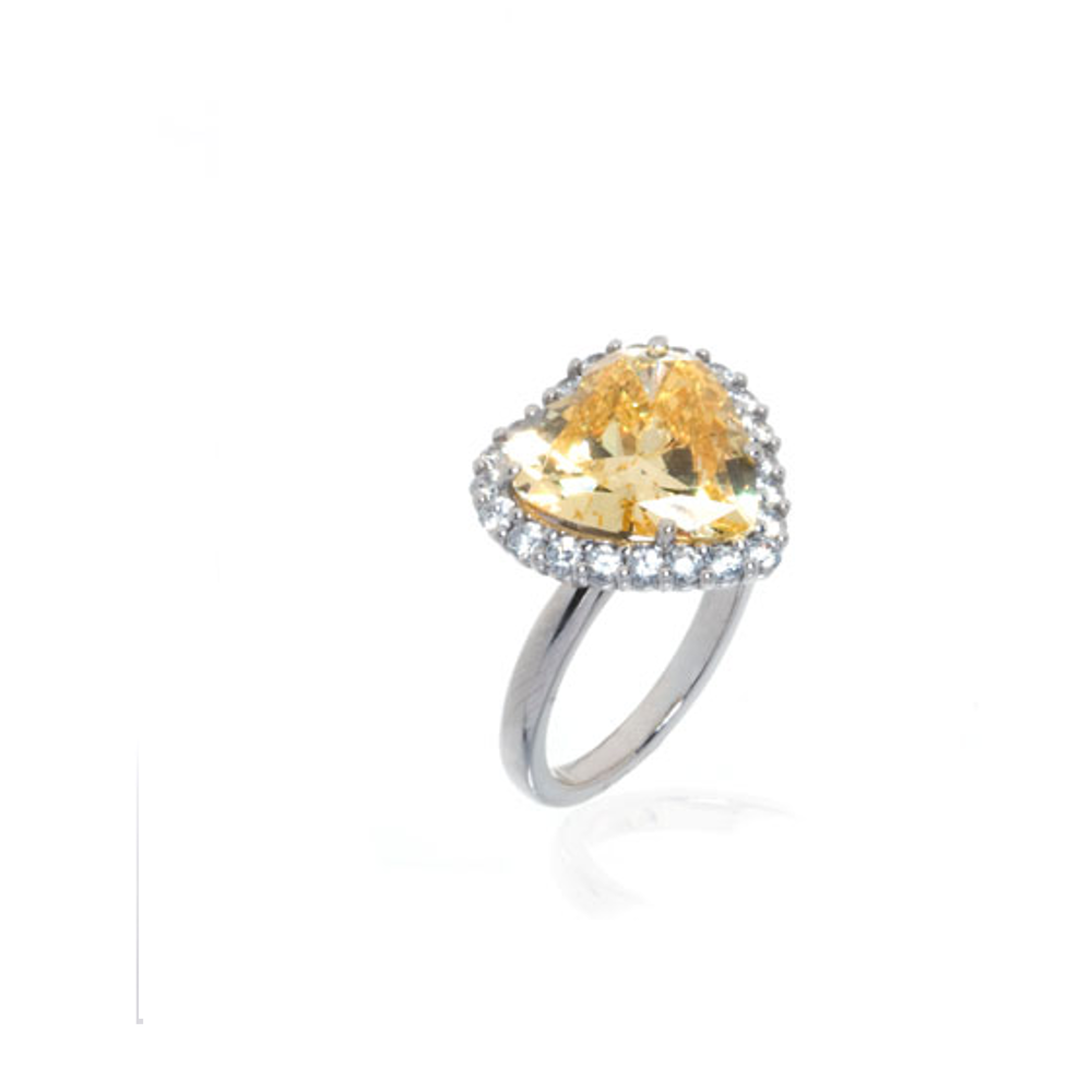 White Gold Canary Heart Ring