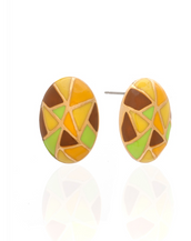 Multi Color Yellow Green Oval Earrings