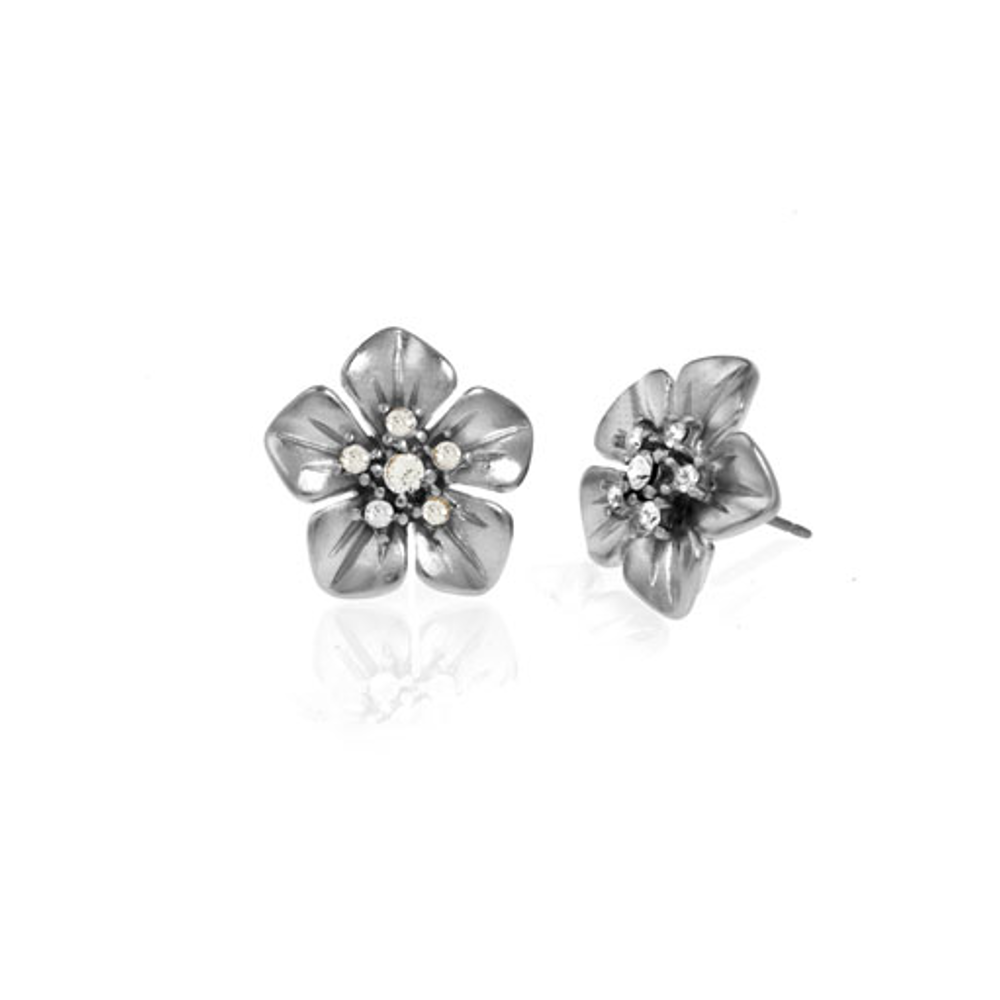 Small Silver Tone Flower Earrings