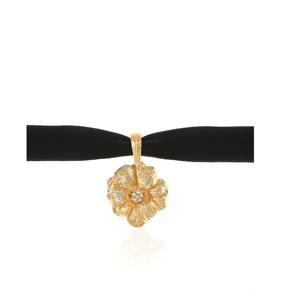 Double Rose Velvet Choker With Goldtone Pendant