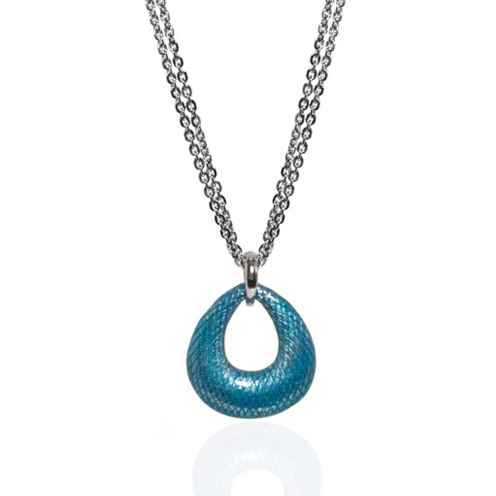 SnakeSkin Robin Blue Open Tear Pendant Necklace