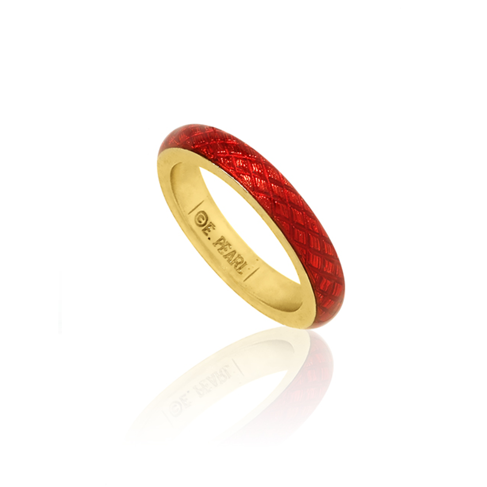 Goldtone Red Snakeskin Ring