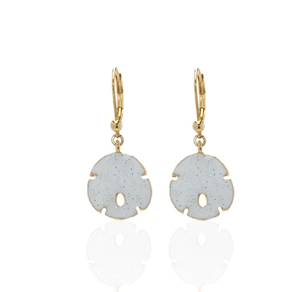 Stardust White Small Goldtone Sand Dollar Earrings