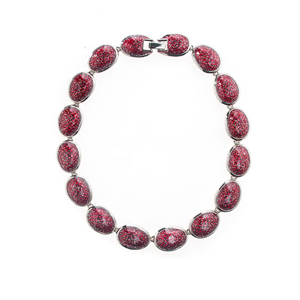 Stardust Silvertone Red Sharkskin Necklace