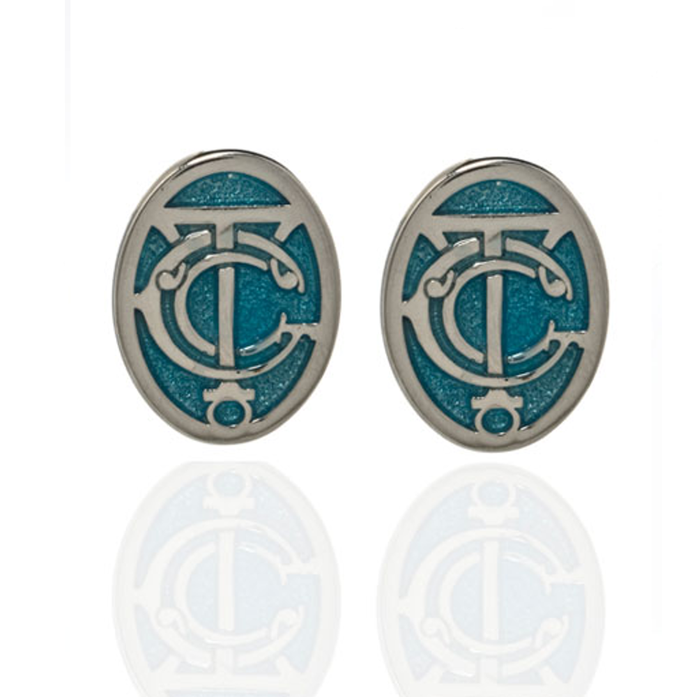 Grand Central Celestial Blue Silvertone Post Earrings