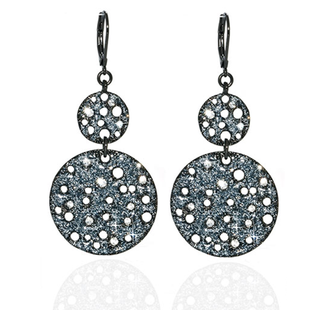 Stardust Hematite Textured Double Disc Drop Earrings