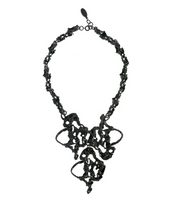 Molten Hematite Tone Abstract Necklace