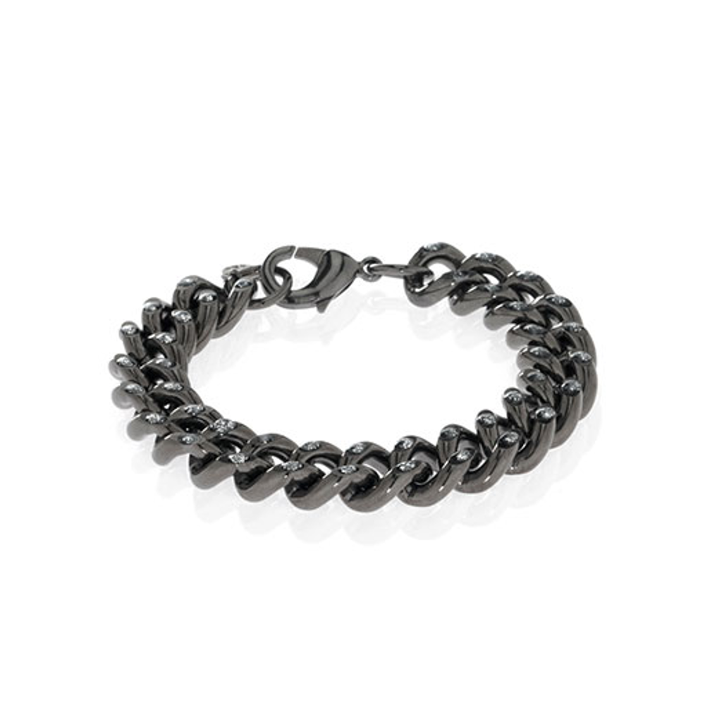 Curb Link With Stardust Hematite
