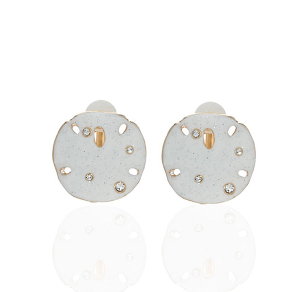 Stardust White Large Goldtone Sand Dollar Clip Earrings