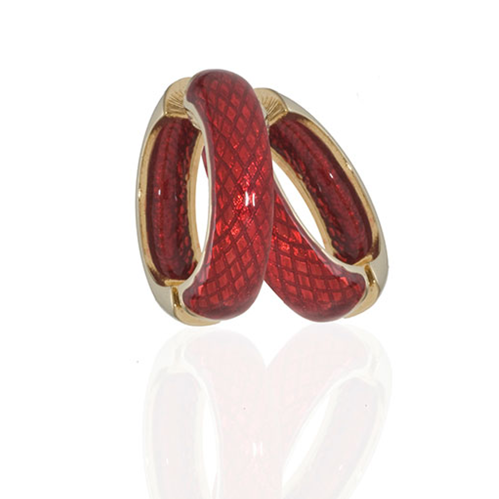 Medium Snakeskin Red Hoop-Eze Earrings