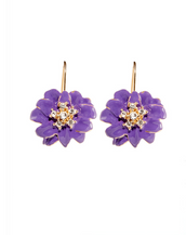 Purple Flower Euro-Wire Earring