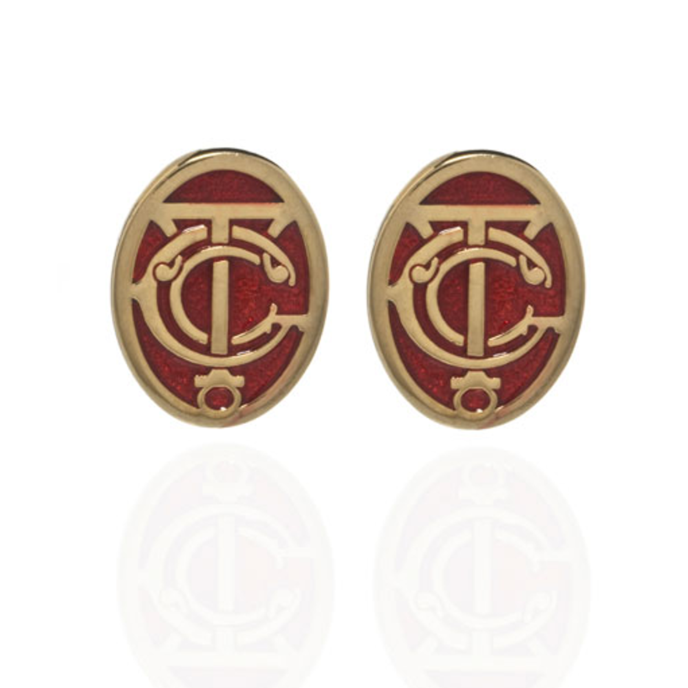 Grand Central Red and Goldtone Post Earrings