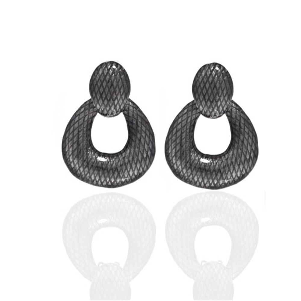 Snakeskin Hematite Open Tear Drop Earrings