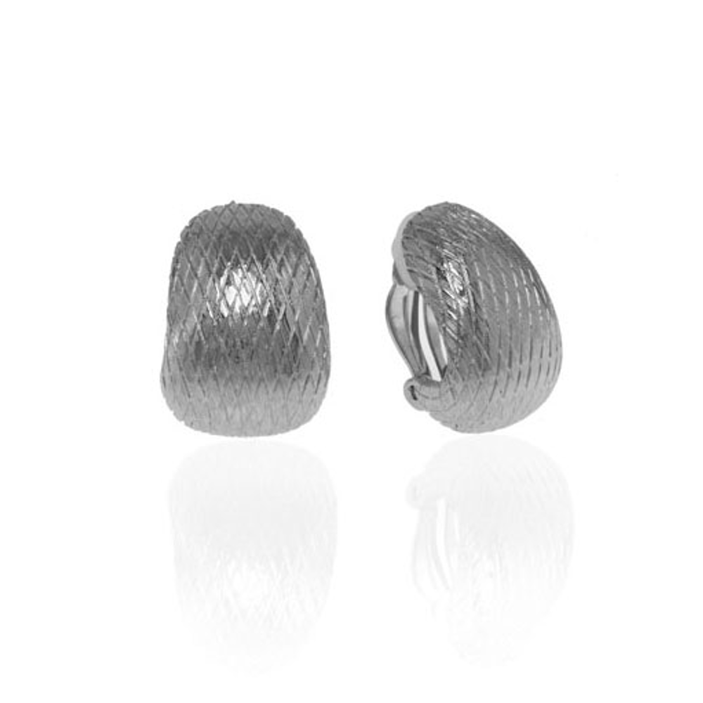 Snakeskin Silvertone Button Earring