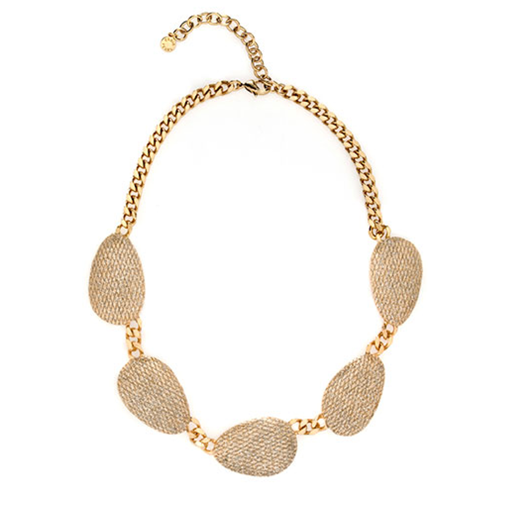 SnakeSkin Stardust Goldtone Multi Discs Collar Necklace