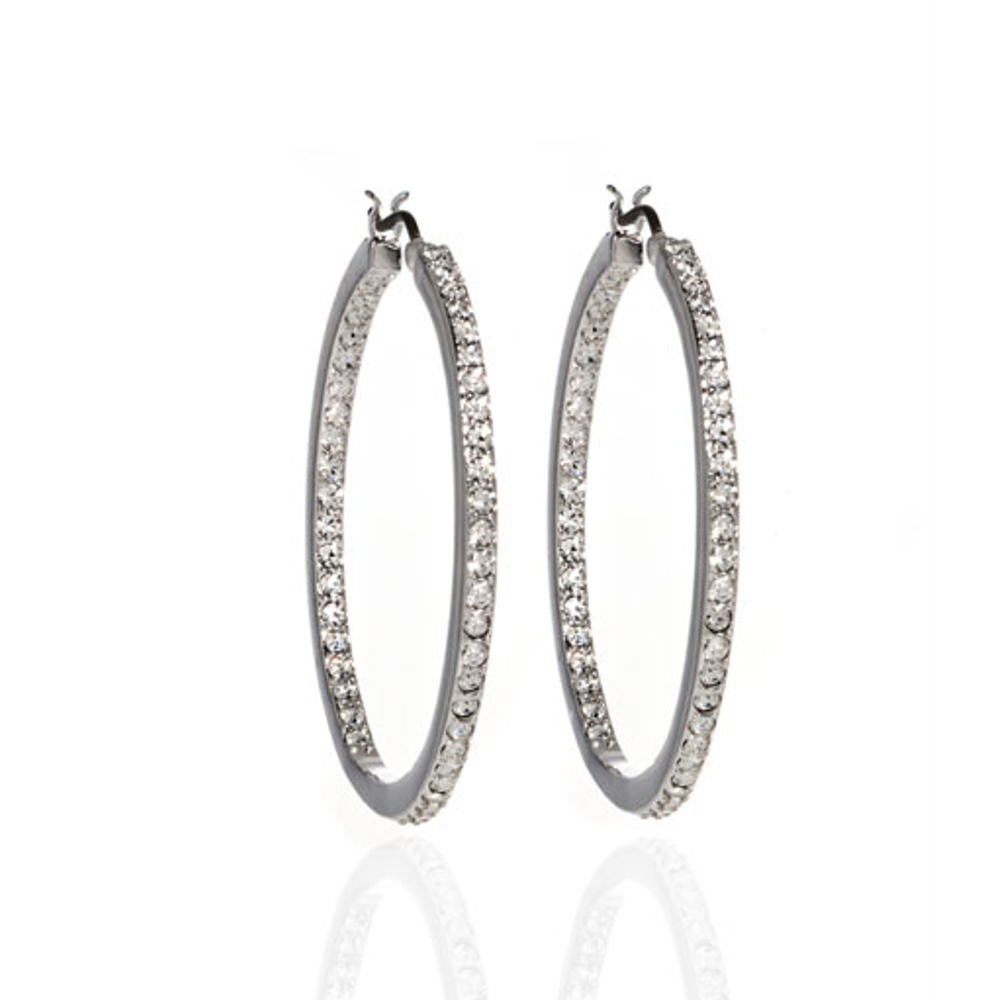Silver Tone Crystal Flat Hoop Earrings