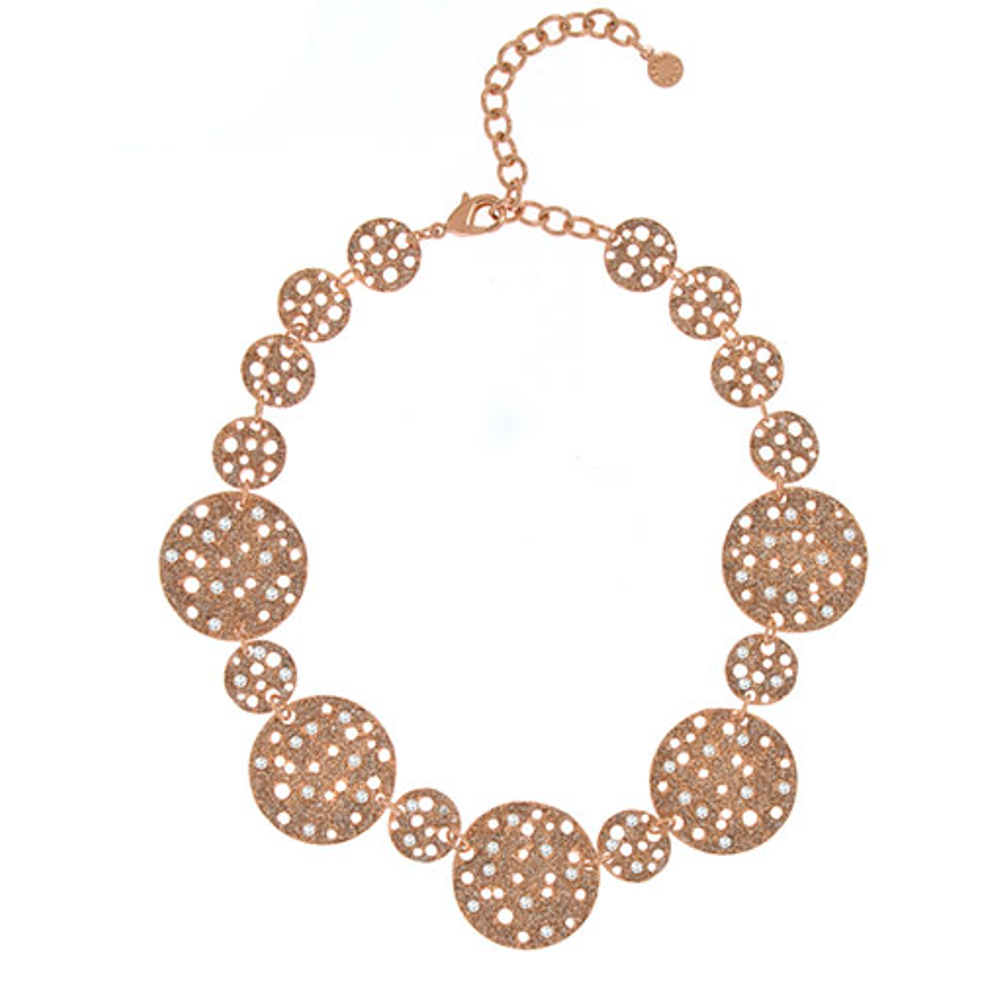 Stardust Radiance Rose Disc Collar Necklace