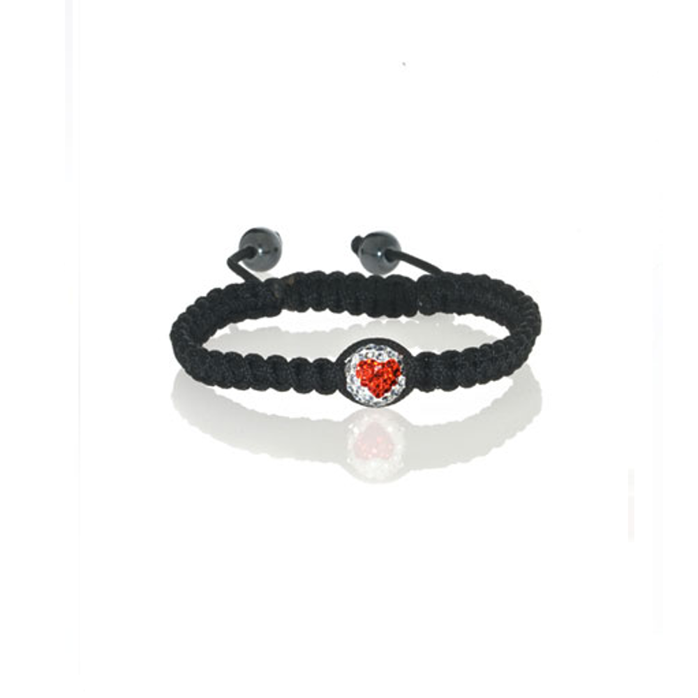 Red Heart Crystal Ball Bracelet