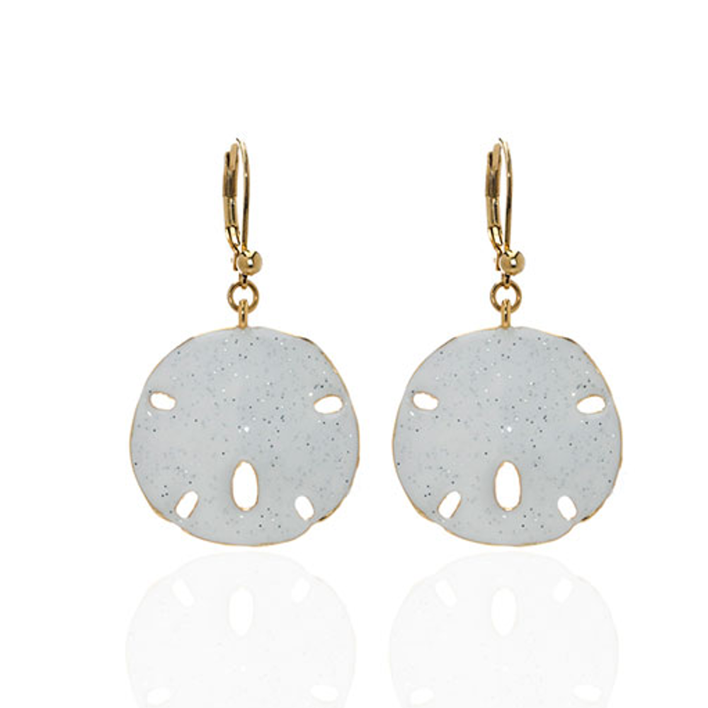 Stardust White Large Goltone Sand Dollar Earrings