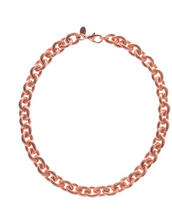 Ribbed Link Rose Tone Necklace