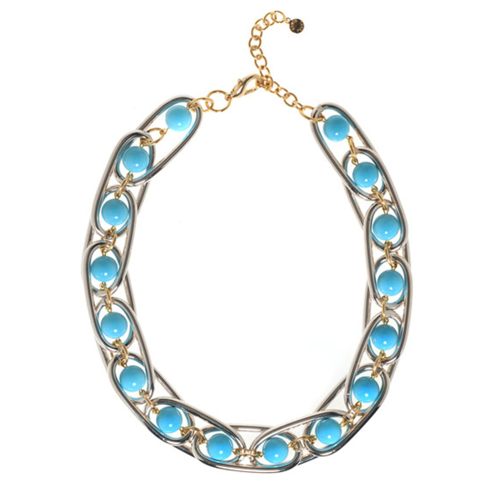 Excelsior Silver Tone Turquoise Collar Necklace