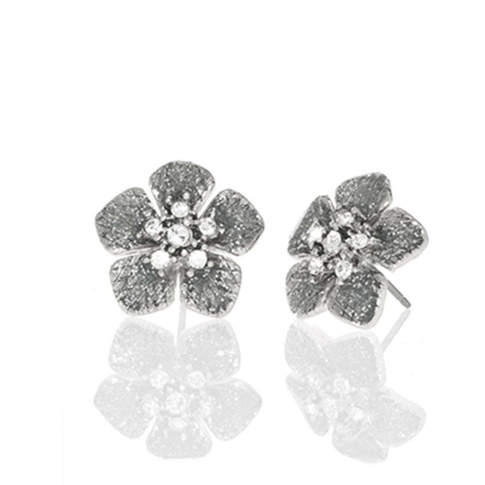 Stardust Silver Small Flower Earrings