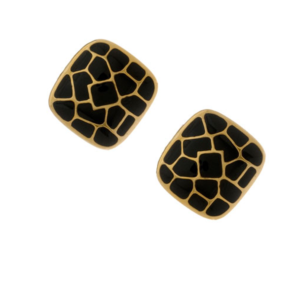 Italian Riviera Black Square Button Earrings