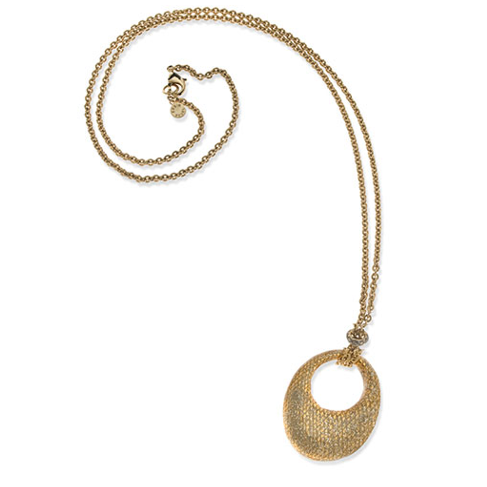 SnakeSkin Stardust Goldtone Open Disc Pendant Necklace