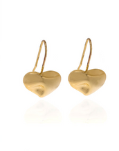 Gold Tone Heart Drop Earrings
