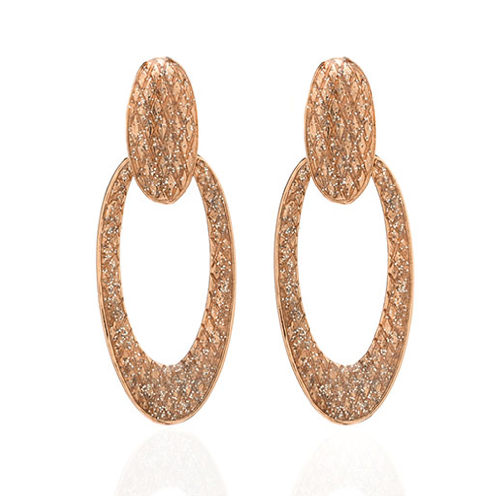 Rose Gold Stardust Large Snakeskin Oval Earrings