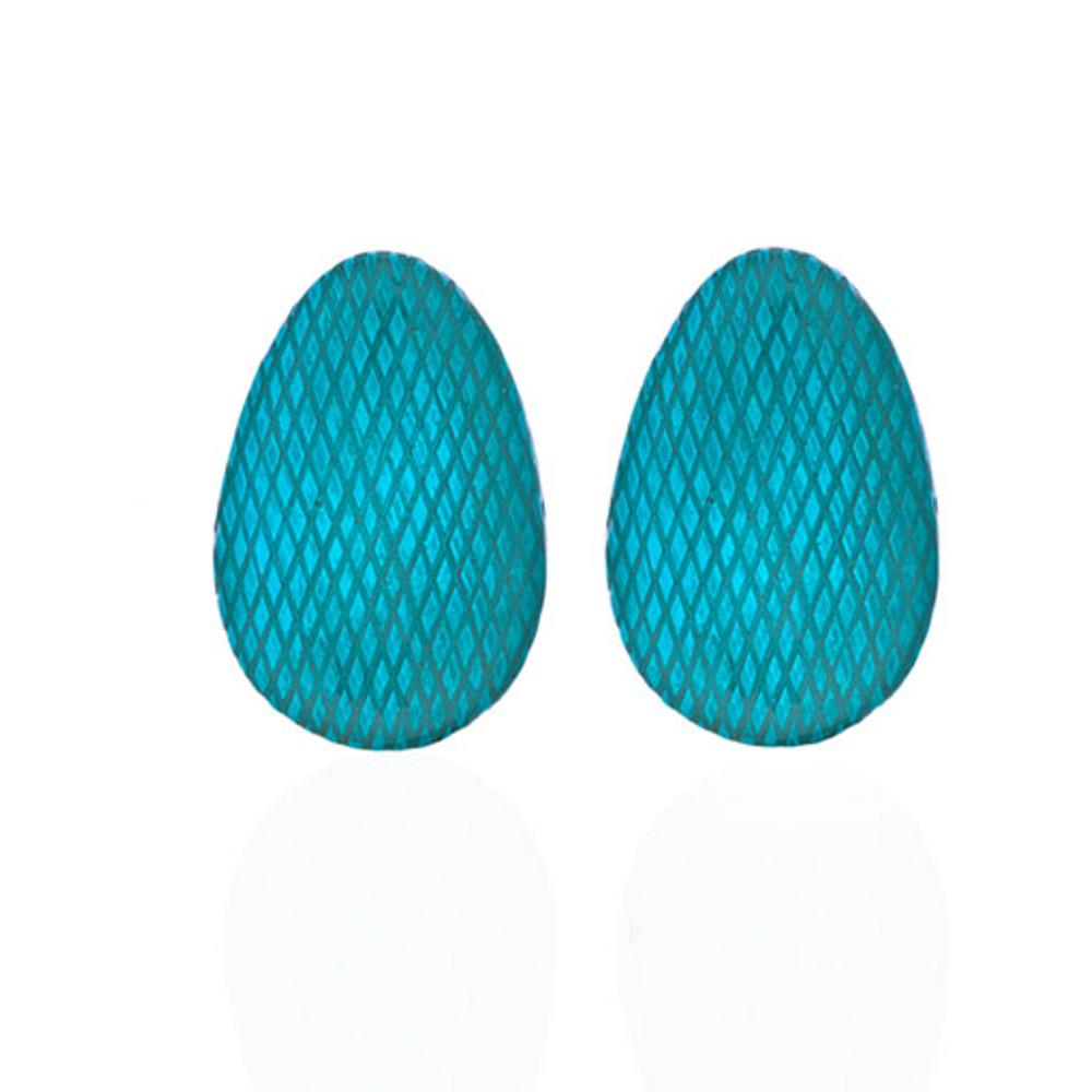 Snakeskin Robin Egg Blue Button Earring