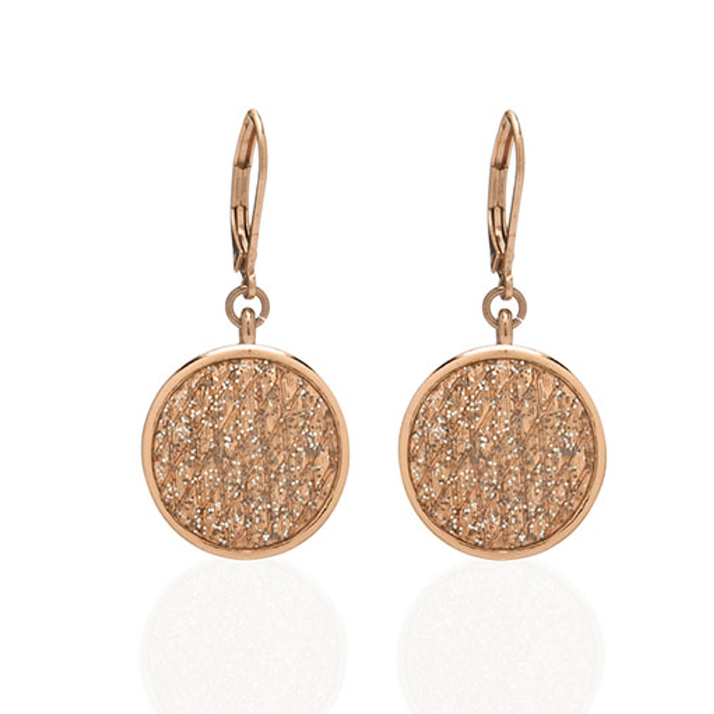Stardust Small Rose Gold Snakeskin Disc Earrings