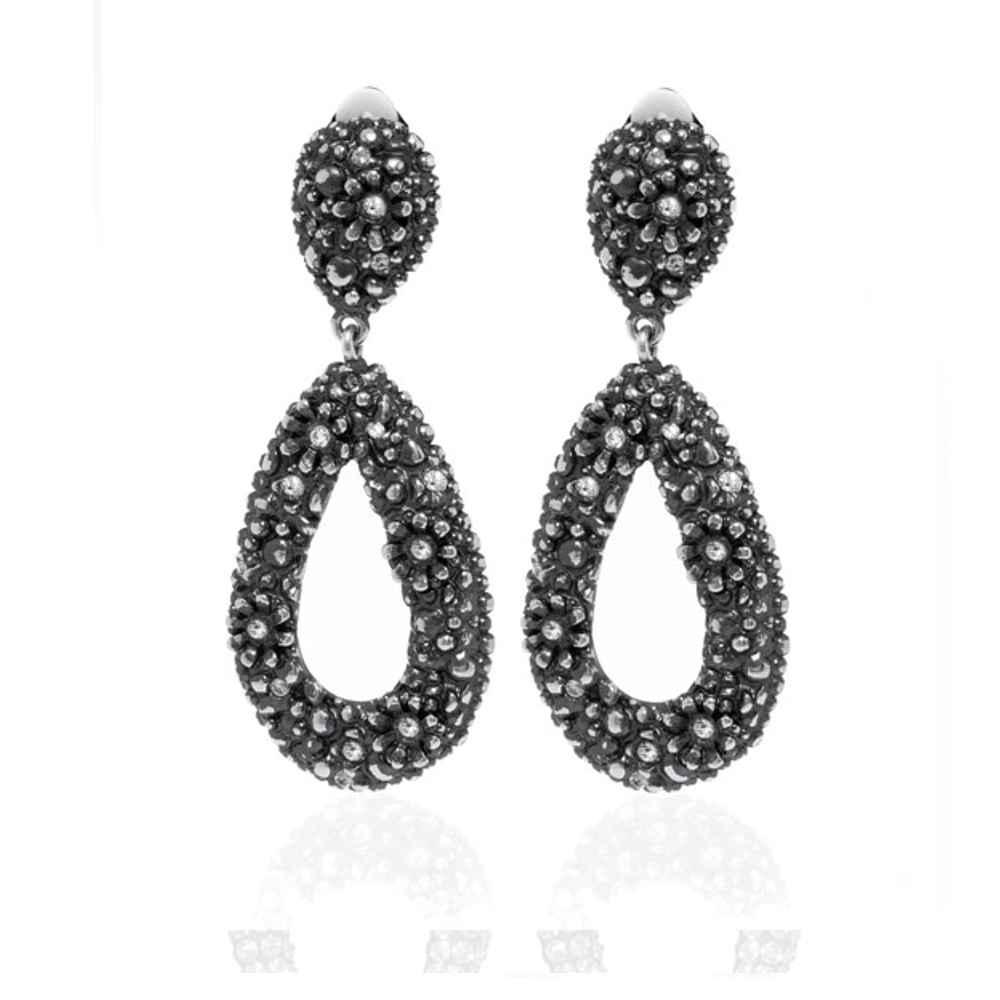 Black Diamond Tear Drop Earrings