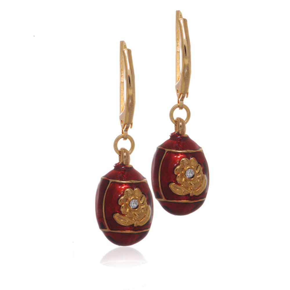 St. Petersburg Red Floral Egg Drop Earrings