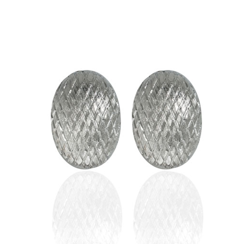 Snakeskin Silver Button Earrings